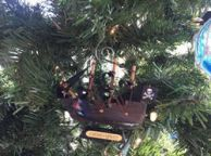 Wooden Caribbean Pirate Ship Model Christmas Ornament 4