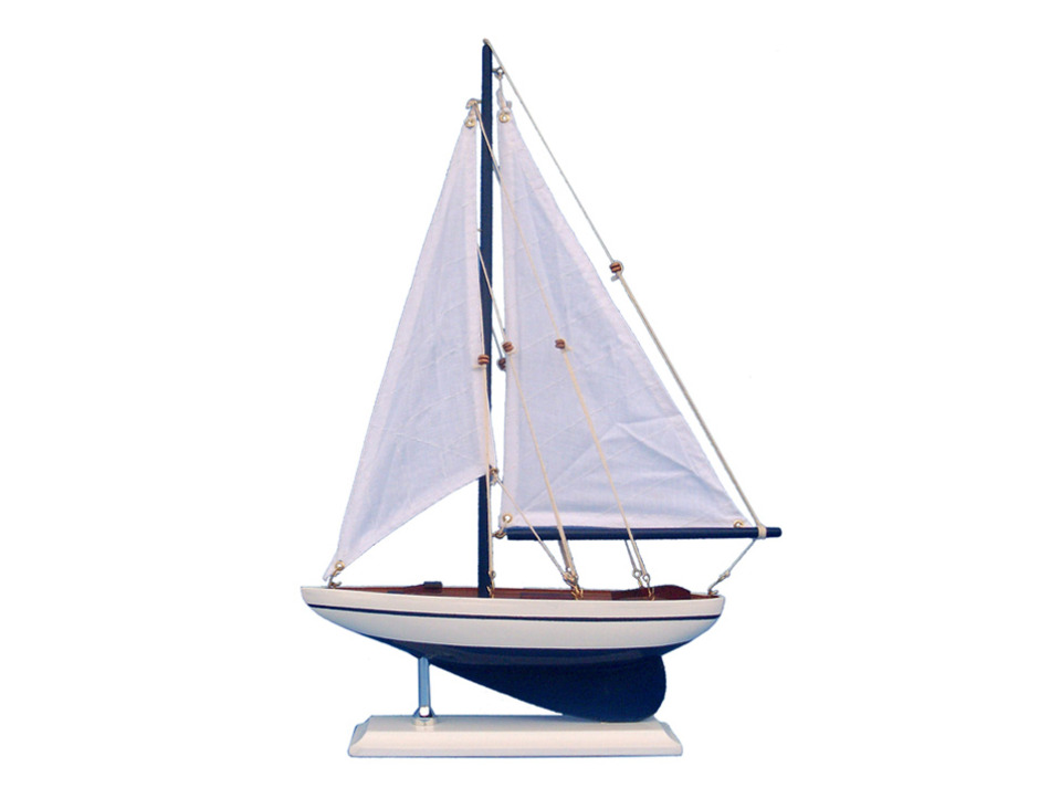 Wooden Blue Pacific Sailer Model Sailboat Decoration 17