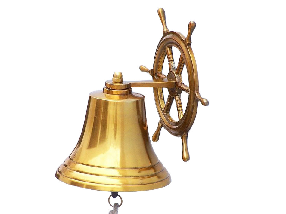 Brass Plated Hanging Ship Wheel Bell 8