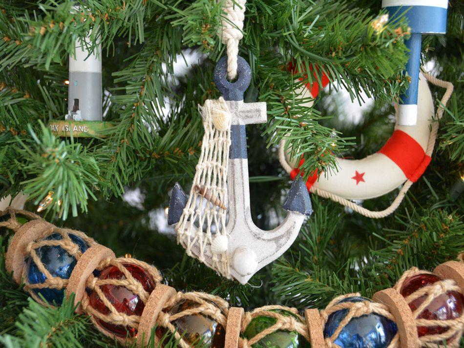 rustic blue decorative anchor christmas tree ornament