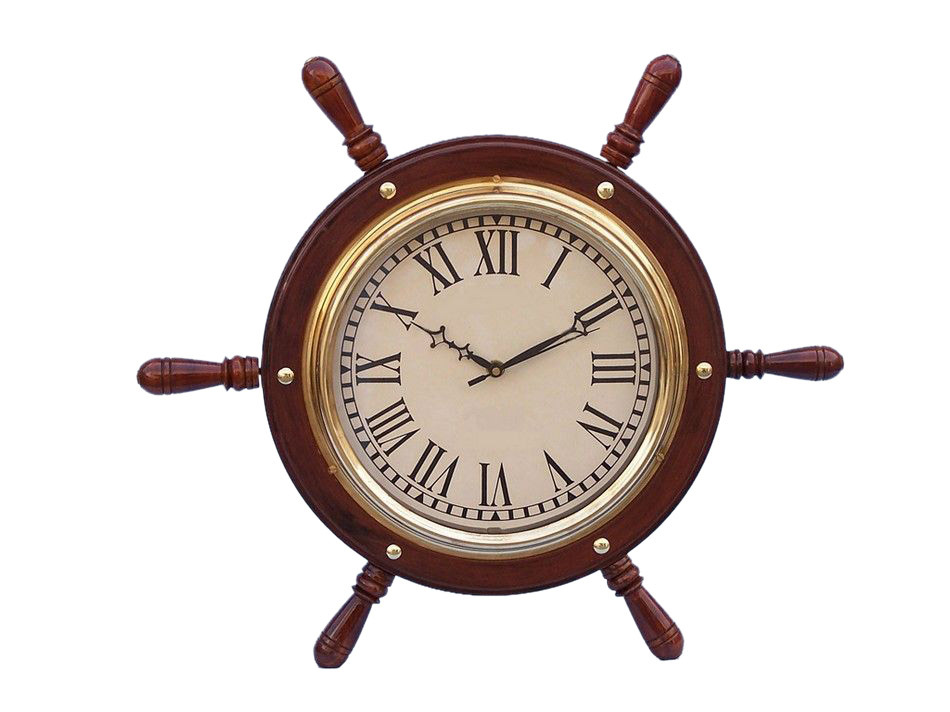 Solid Wood And Br Ship Wheel Clock 15