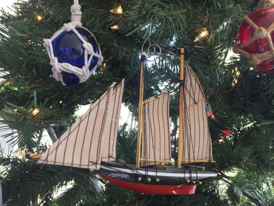 Buy Wooden America Model Sailboat Decoration Christmas Ornament 7 Inch