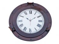 "Antique Copper Deluxe Class Porthole Clock 15"" picture"