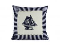 "Blue Sloop Nautical Stripes Decorative Throw Pillow 16"" picture"