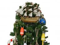 Wooden HMS Victory Model Ship Christmas Tree Topper Decoration  picture