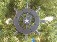 Dark Blue Decorative Ship Wheel With Starfish Christmas Tree Ornament 6 picture