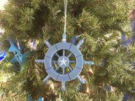 Rustic Light Blue Decorative Ship Wheel With Starfish Christmas Tree Ornament 6