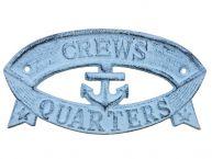 Rustic Dark Blue Whitewashed Cast Iron Crews Quarters Sign 8