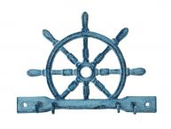 "Rustic Dark Blue Whitewashed Cast Iron Ship Wheel with Hooks 8"" picture"