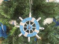 Rustic Light Blue and White Decorative Ship Wheel With Seagull Christmas Tree Ornament 6