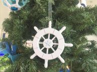 "White Decorative Ship Wheel With Starfish Christmas Tree Ornament 6"" picture"