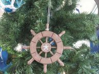 "Rustic Wood Finish Decorative Ship Wheel With Starfish Christmas Tree Ornament 6"" picture"