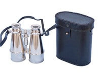 Captains Chrome Binoculars with Leather Case 6