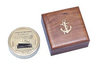 Solid Brass RMS Titanic Compass 4 w- Rosewood Box