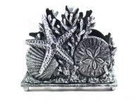 Antique Silver Cast Iron Seashell Napkin Holder 7