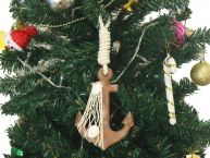 Wooden Rustic Decorative Anchor Christmas Tree Ornament