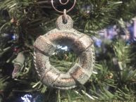 Antique Bronze Cast Iron Lifering Christmas Ornament 4