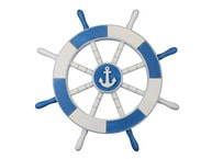 Light Blue and White Decorative Ship Wheel with Anchor 18