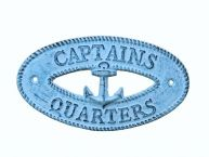Dark Blue Whitewashed Cast Iron Captains Quarters with Anchor Sign 8