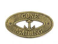 "Antique Gold Cast Iron Gone Sailing with Anchor Sign 8"" picture"
