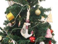 Wooden Rustic Decorative Red and White Anchor Christmas Tree Ornament