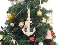 Wooden Whitewashed Decorative Anchor Christmas Tree Ornament