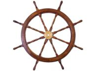Deluxe Class Wood and Brass Decorative Ship Wheel 36