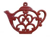 """Rustic Red Whitewashed Cast Iron Round Teapot Trivet 8"""" picture"""