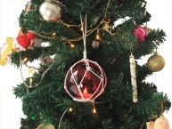 LED Lighted Red Japanese Glass Ball Fishing Float with White Netting Christmas Tree Ornament 4