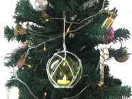 LED Lighted Green Japanese Glass Ball Fishing Float with White Netting Christmas Tree Ornament 4