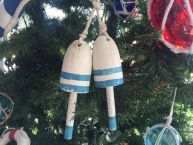 Wooden Vintage Light Blue Decorative Maine Lobster Trap Buoys Christmas Ornament 7