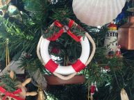 White and Red Lifering Wreath Christmas Tree Ornament