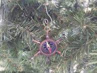 Antique Copper Ship Wheel Compass Christmas Ornament 5
