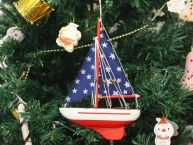 Wooden Starry Night Model Sailboat Christmas Tree Ornament