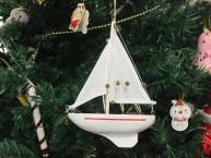 Wooden Intrepid Model Sailboat Christmas Tree Ornament picture