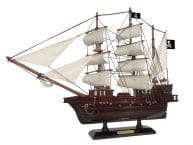 "Wooden Black Pearl White Sails Pirate Ship Model 20"" picture"