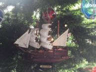 Wooden Mayflower Model Ship Christmas Tree Ornament picture