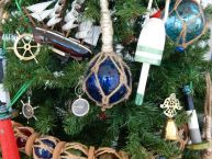 Glass and Rope Blue Fishing Float Christmas Tree Ornament