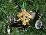 Brass Nautical Sextant Christmas Tree Ornament
