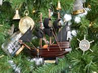 Wooden Captain Kidds Adventure Galley Model Pirate Ship Christmas Tree Ornament picture