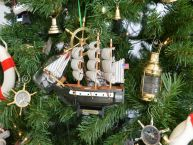 Wooden USS Constitution Model Ship Christmas Tree Ornament