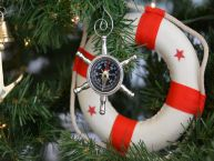 Chrome Ship Wheel Compass Christmas Tree Ornament