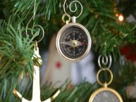 Chrome Compass Christmas Tree Ornament