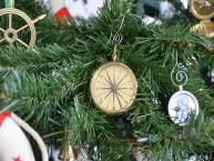 Brass Emerson Poem Compass Christmas Tree Ornament 5 picture