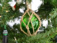Glass and Rope Green Fishing Float Christmas Tree Ornament