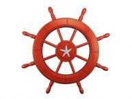 Red Decorative Ship Wheel With Starfish 24 picture
