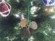 Antique Gold Cast Iron Propeller Christmas Ornament 4 picture