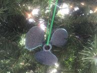 Seaworn Blue Cast Iron Propeller Christmas Ornament 4 picture