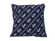 """Decorative Blue Pillow with White Rope and Anchors Throw Pillow 16"""" picture"""