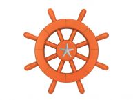 Orange Decorative Ship Wheel With Starfish 12